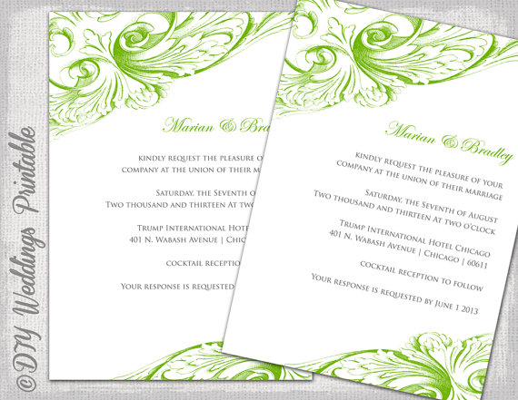 Wedding Invitation Template Green DIY By Diyweddingsprintable