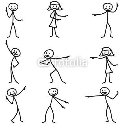 Strichmannchen Zeigend Figuren Zeichnen Strichmannchen Und Strichm