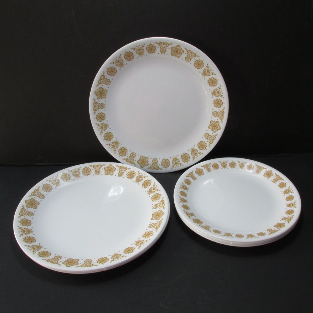 8 Corelle Corning Butterfly Gold Dinner Luncheon Plates Free