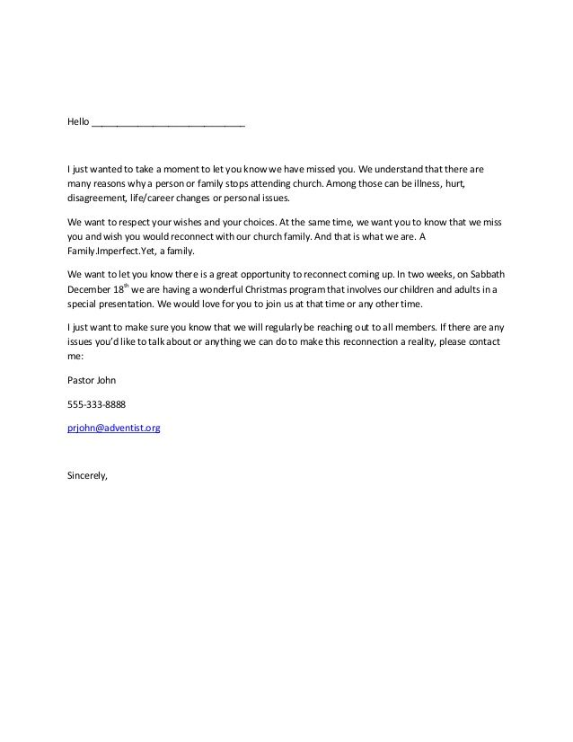 Sample letter for reclaiming members Connecting in church Pinterest