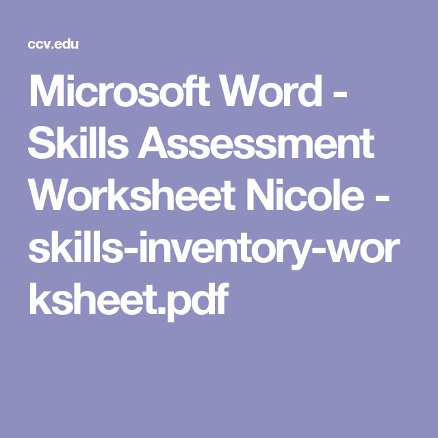 Microsoft Word  Skills Assessment Worksheet Nicole  Skills