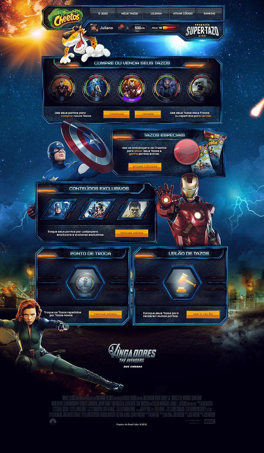 Game Super Tazo - The Avengers - Mr. Conde  colorful web design