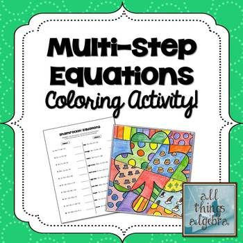 Multi Step Equations St Patrick S Day Coloring Activity My Tpt