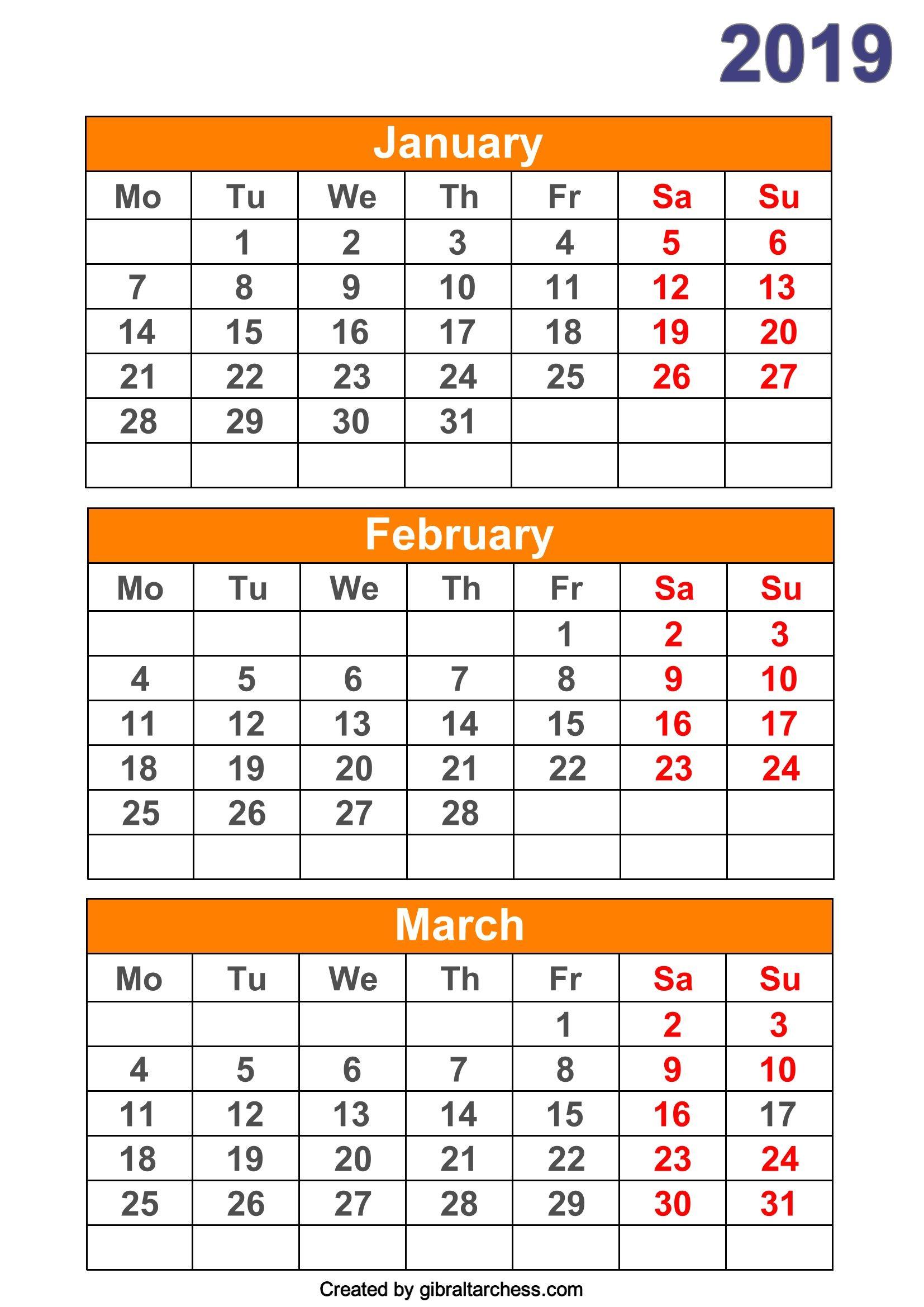 2019 Calendar 4 Months Per Page Printable Calendar Printables Calendar Template Calendar