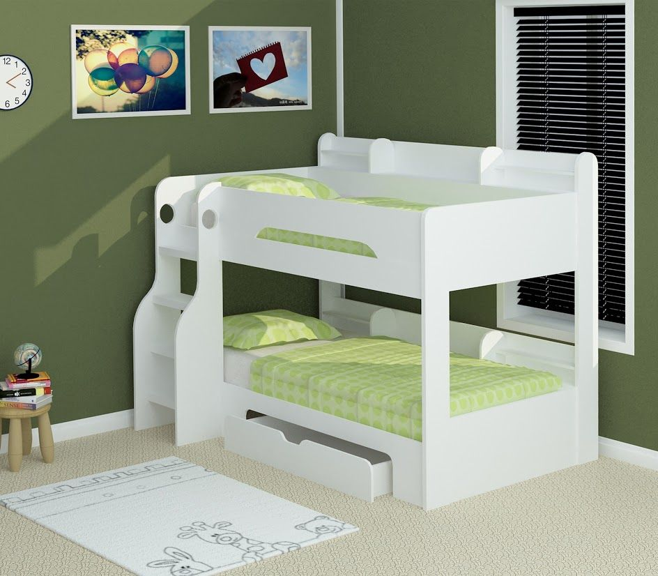 Flick White Bunk Bed Bunk beds, Bunk beds with stairs