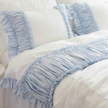 shabby blue white ruffle duvet cover set. shabby chic bedding