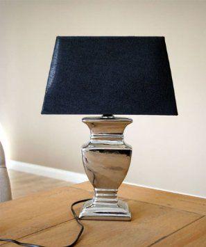 tischlampe tisch lampe tischleuchte 52 cm schirm schwarz silber shabby landhaus. Black Bedroom Furniture Sets. Home Design Ideas