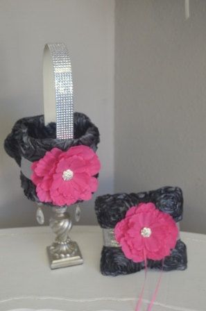 Charcoal and hot pink rosette flower girl by foreverlovenotes mrs items similar to flower girl basket and ring pillow charcoal and hot pink rosette with silver glitter ribbon rhinestone handle and hot pink flower on mightylinksfo Images