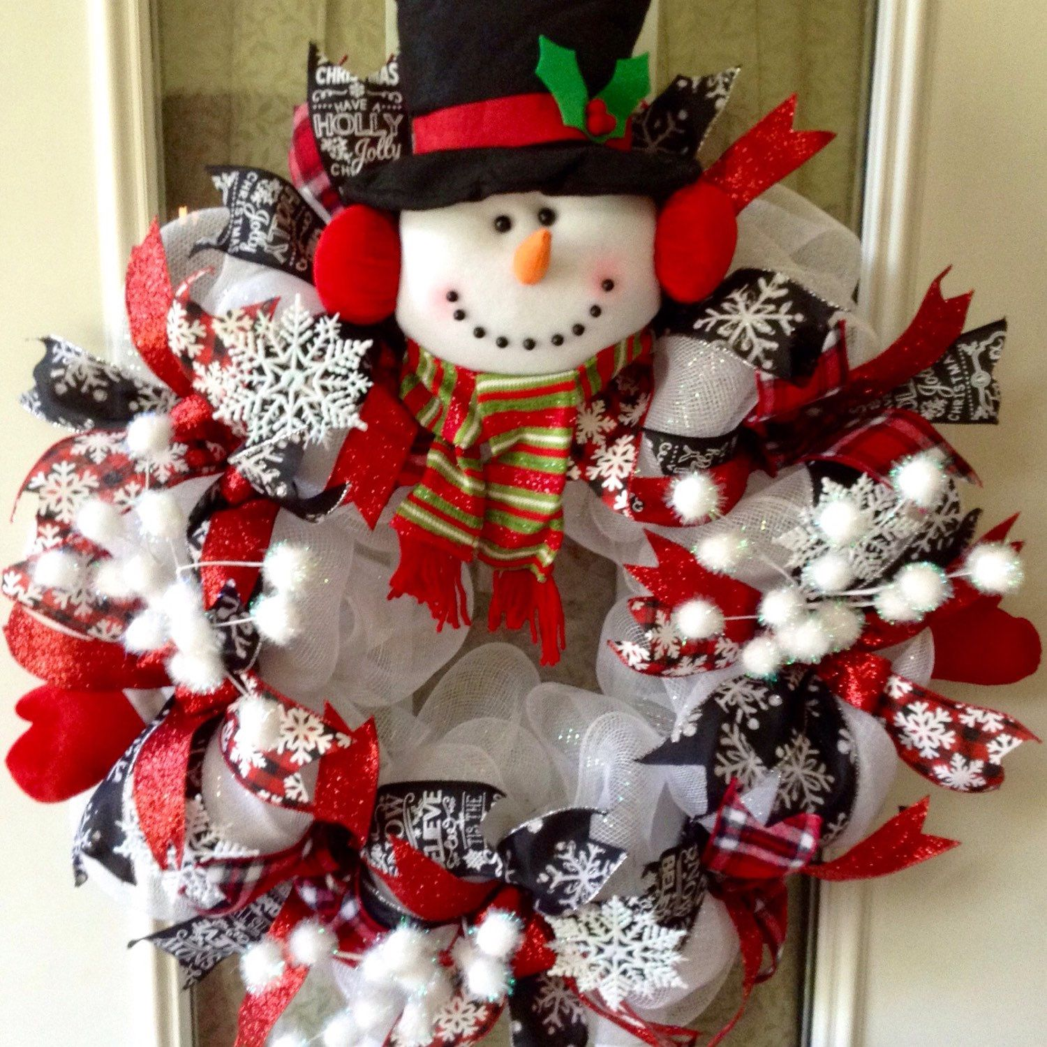 "Large, adorable Christmas ""Snowman"" deco mesh wreath"