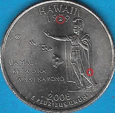 2008 P - HAWAII STATE QUARTER ERROR COIN - REV CHIPS - OBV