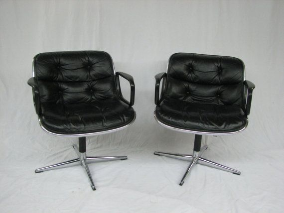 Mid Century Modern, vintage 1950's Knoll executive leather upholstered pair of chairs on Etsy, $550.00