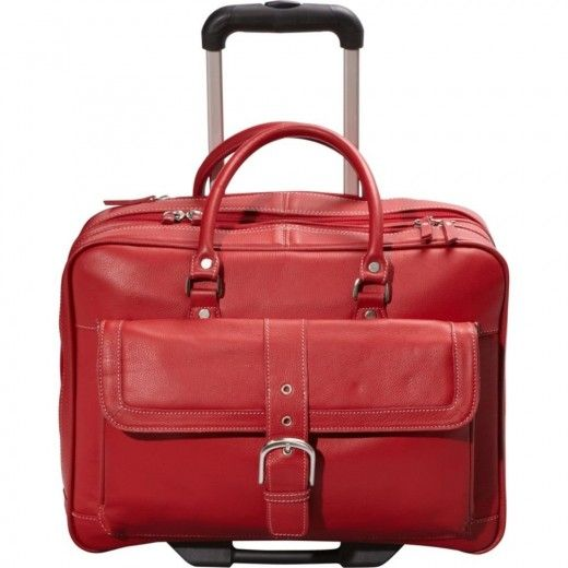 Has a file folder with dividers. Chic red Lightweight Laptop Bags for  Women.Soho leather mobile office. Holds laptops of up to 17