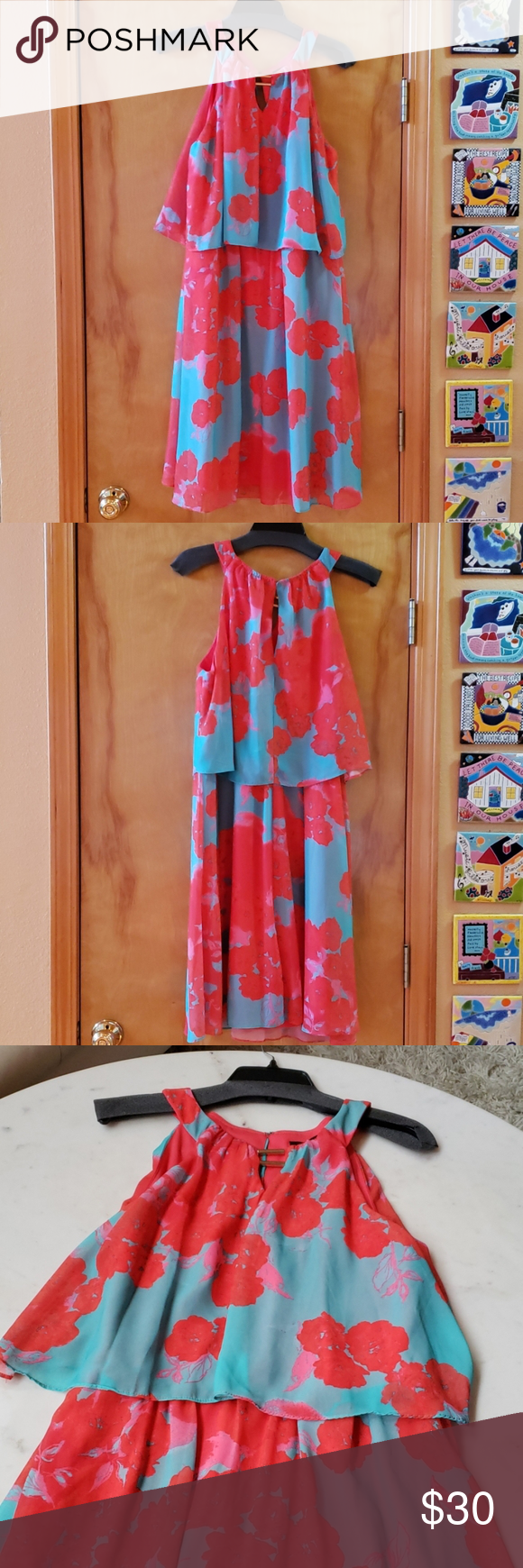 Sangria 2 Layer Sleeveless Summer Dress Size 12 In 2020 Sleeveless Dress Summer Summer Dresses Sangria Dress [ 1740 x 580 Pixel ]