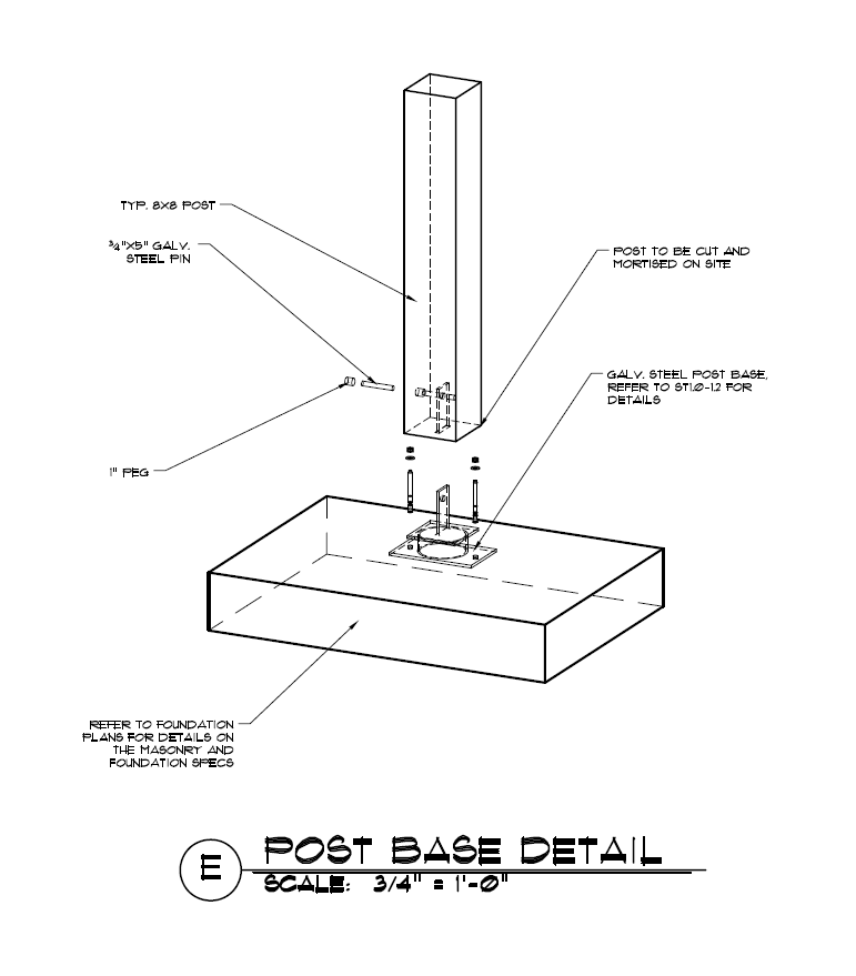 a post to concrete or masonry construction detail using a raised steel knife plate