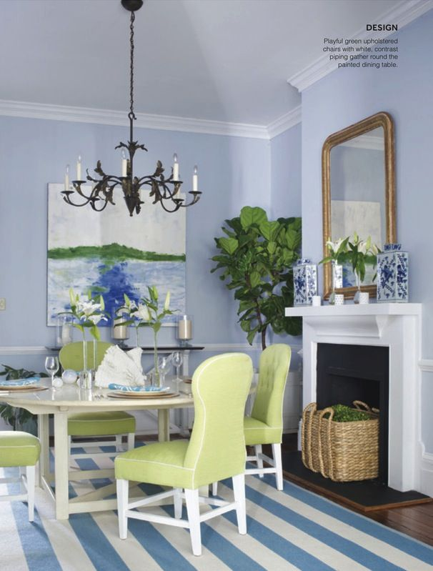 blue and white striped rug with blue walls and white trim and green accent - Lynn Morgan design