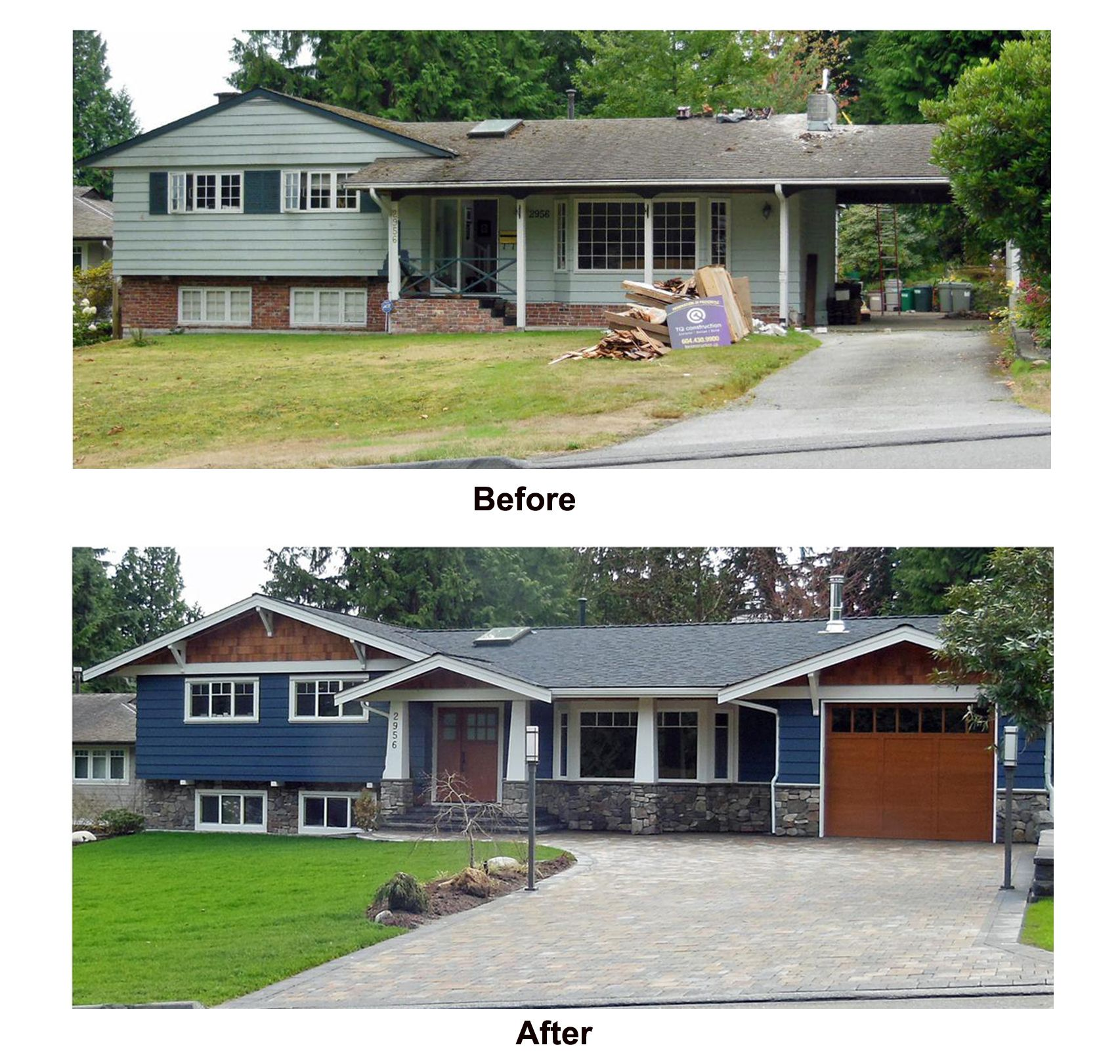 Split Level Home Exterior Makeover: Split Level House Remodel Before And After Sample Picture