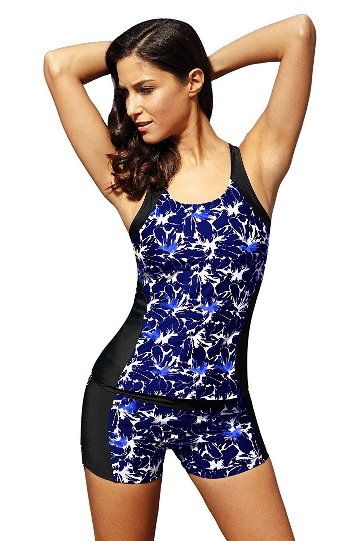 Women/'s Color Block Slimming Swim Board Shorts Two Piece 2 PC Tankini Swimsuit