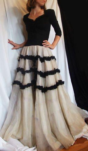 Vtg 30s 40s Black White Silk Long Party Dress Evening Gown Prom Wedding WWII Era | eBay