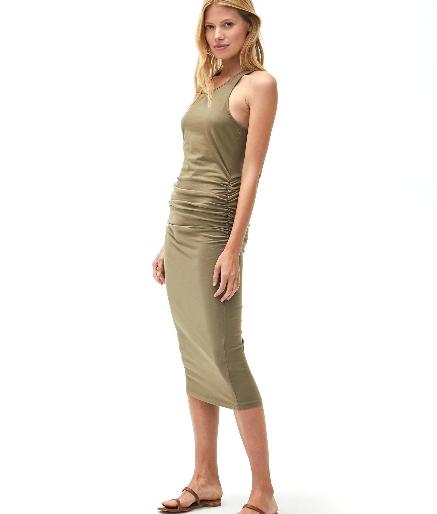 This Fitted Racerback Midi Dress Is A Versatile Piece You Can Dress Up Style Casually Or Layer For The Season In Racerback Midi Dress Dresses For Work Dress Up [ 2005 x 1705 Pixel ]