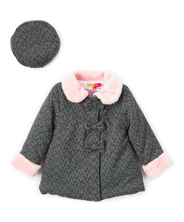 Another great find on #zulily! Gray & Pink Herringbone Peacoat & Beret - Infant #zulilyfinds
