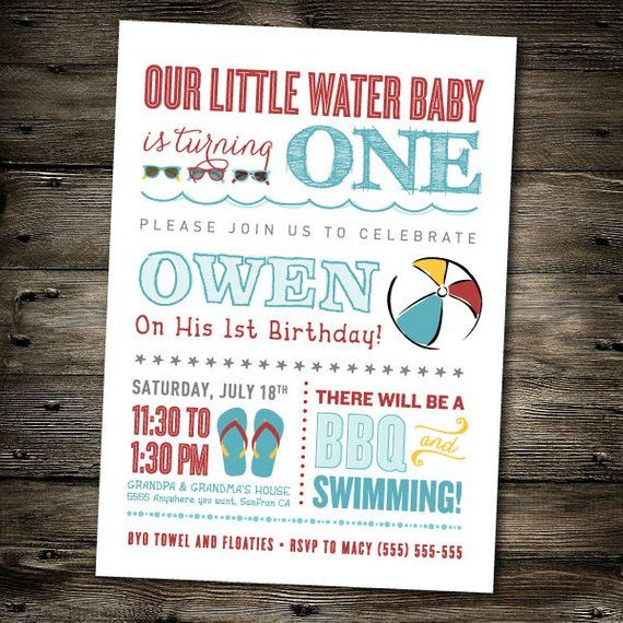 First Birthday Party Invitation Pool Beach Theme You Print