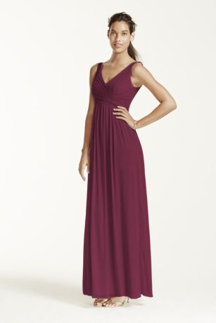 eb19d33970c Davids Bridal Wine A long and breezy dress that will flatter any  silhouette! Sleeveless tank pleated bodice with ultra-feminine v-neckline  features swooping ...