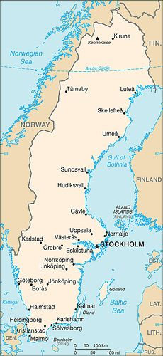 Sweden Map Of Which I Have Been To Most Of The Places Listed Sweden Map History Of Sweden Sweden