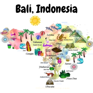Bali, a popular island holiday destination. Beaches, top things to see and do, Enjoy a spa or do yoga in tranquil Ubud, Kuta nightlife, seafood in Jimbaran.