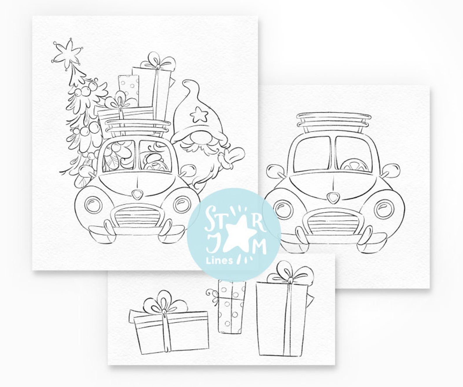 Christmas Gnome in the Car. Digi Stamp, Nordic, Truck