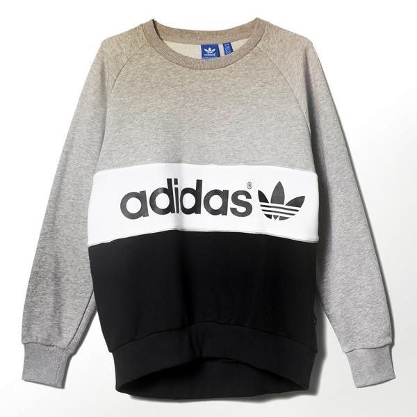 black and grey long sleeve scoop neck monogrammed adidas top Tops - black long  sleeve crop