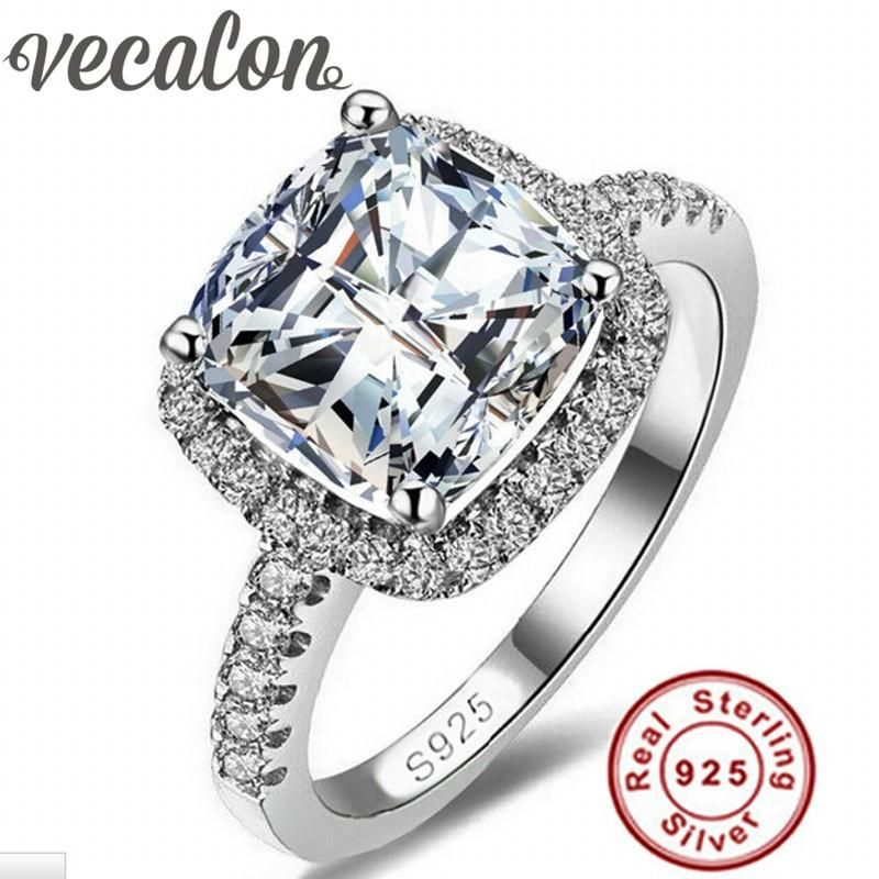 Women Ladies 925 Sterling Silver Princess Solitaire AAA Clear Cubic CZ Halo Ring