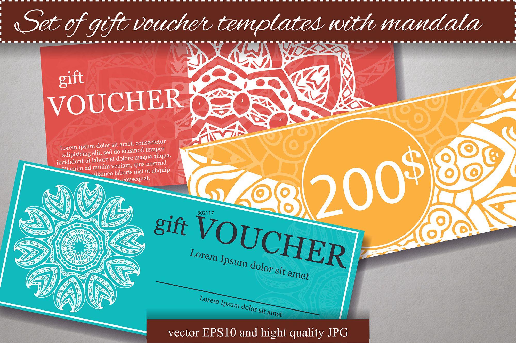 set of gift voucher templates by astartejulia7893 on creative market