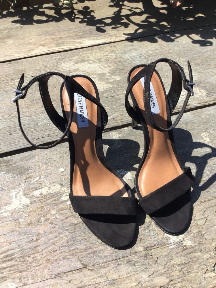 701cd5313d Steve Madden Landen Ankle Strap heels Black Nubuck Leather Women 8.5 ...