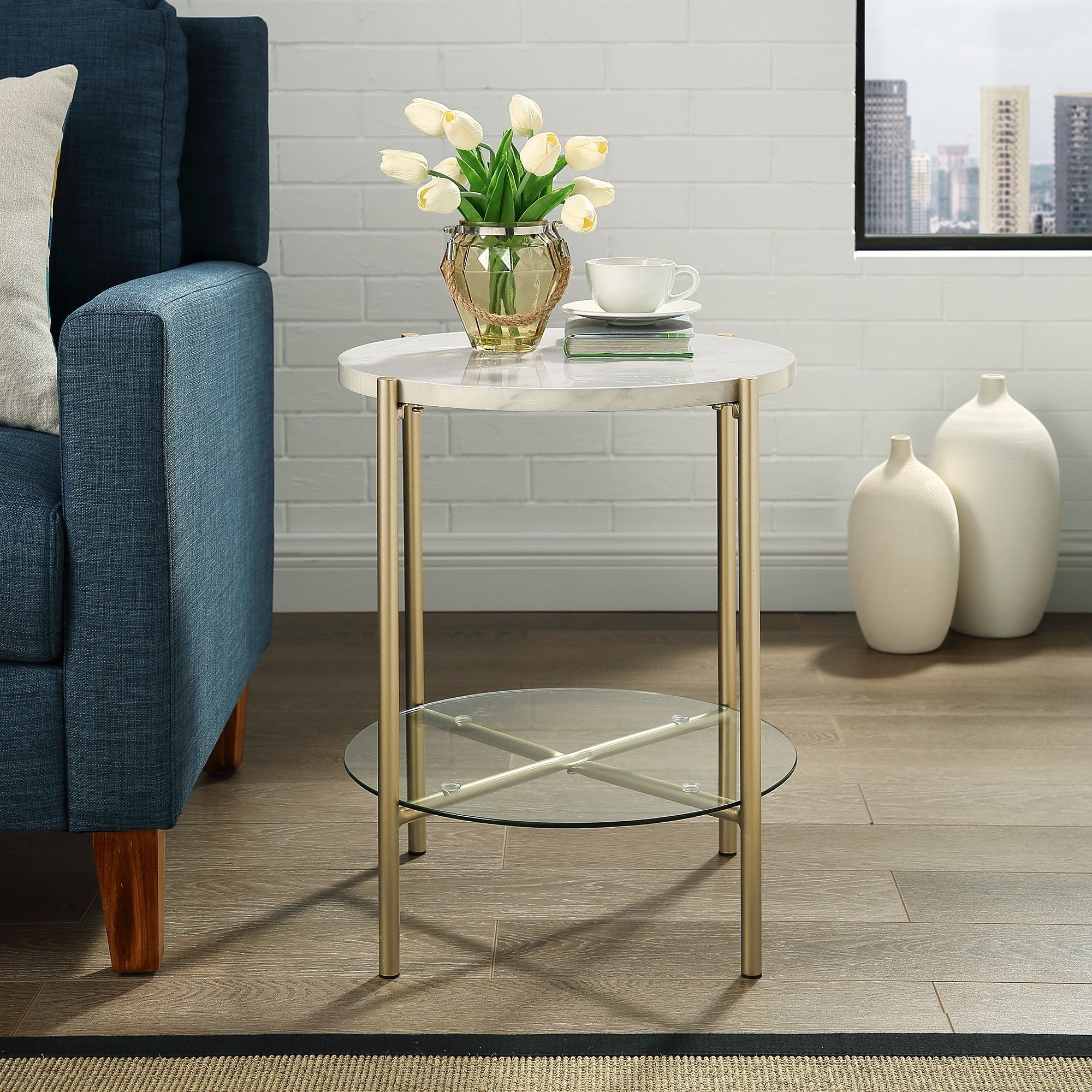 Lola Faux White Marble End Table By Bellamy Studios Walmart Com In 2020 Marble End Tables Marble Room Decor End Tables