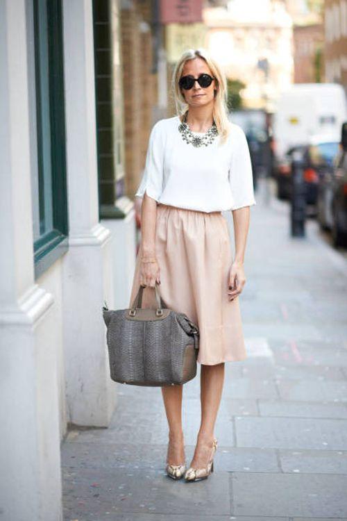 Blush pink midi, white top, flats, sunnies, statement necklace.