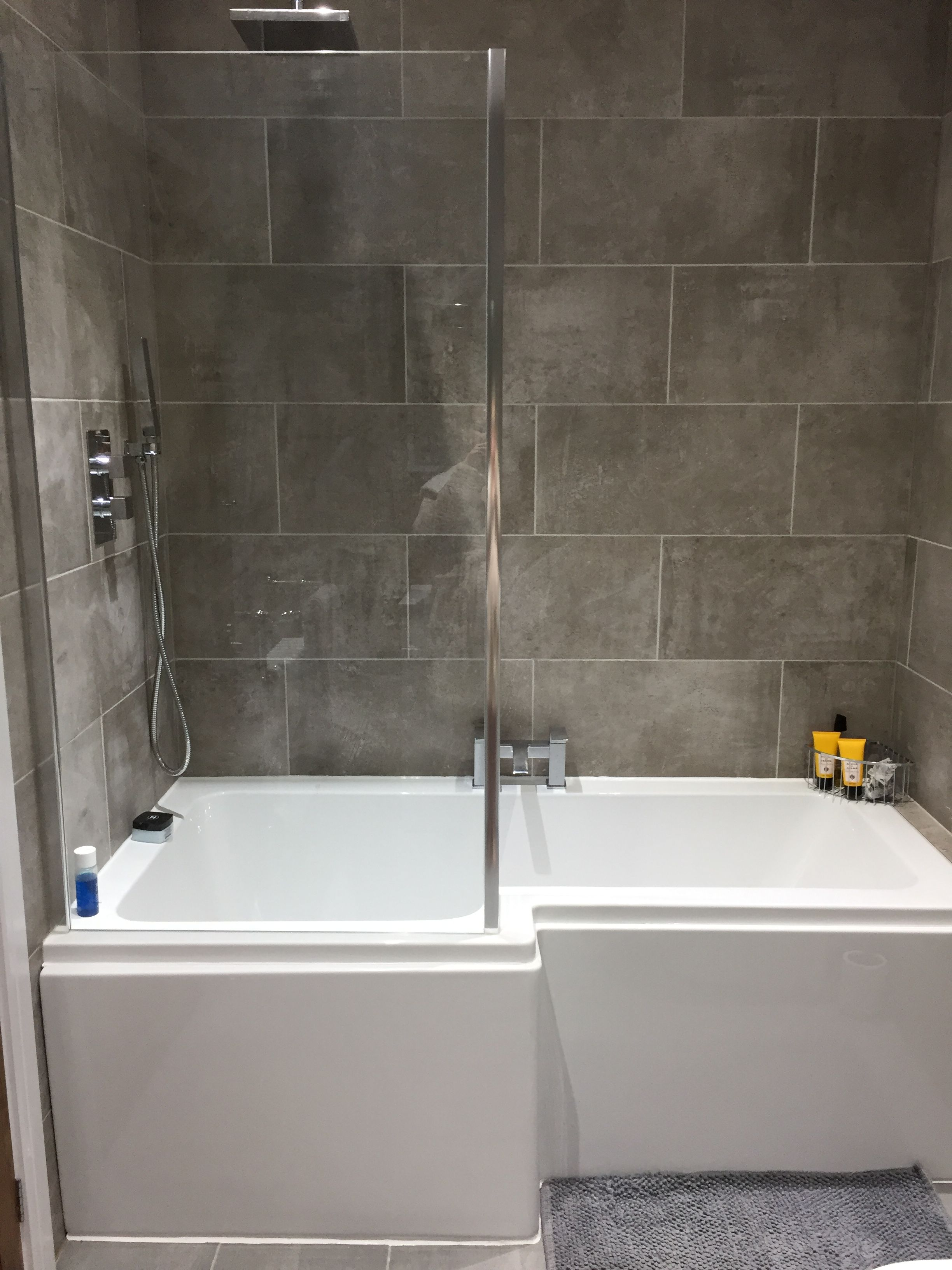 Grey Bathroom P Shape Bath L Shaped Bath L Shaped Bathroom