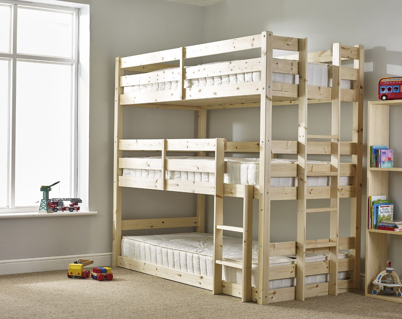 Triple bunk beds for adults - Pandora 3ft Single 3 Tier Heavy Duty Solid Pine High Triple Sleeper Bunk Bed