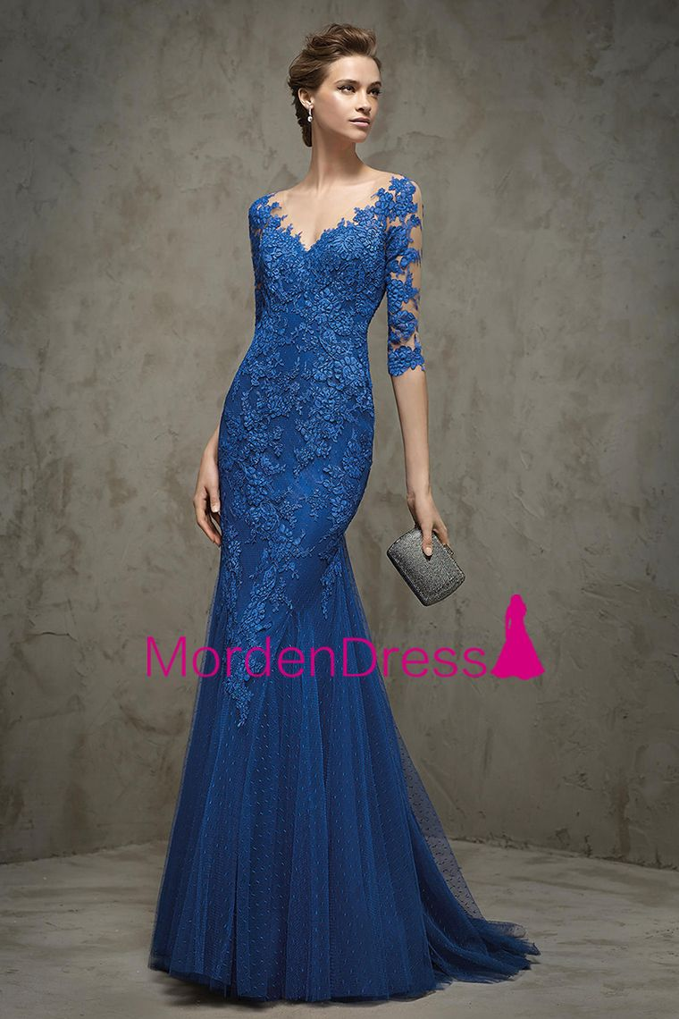 2016 Half Sleeves V Neck Mother Of The Bride Dresses Mermaid Tulle With Applique Sweep Train