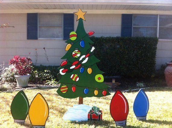 Christmas Light bulb Set of 5 Holiday Wooden Yard Art Personalized - Christmas Light Bulb Set Of 5 Holiday Wooden Yard Art Personalized