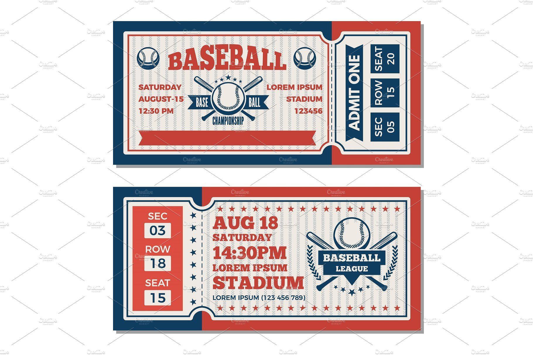Tickets Design Template At Baseball Tournament Ticket Design