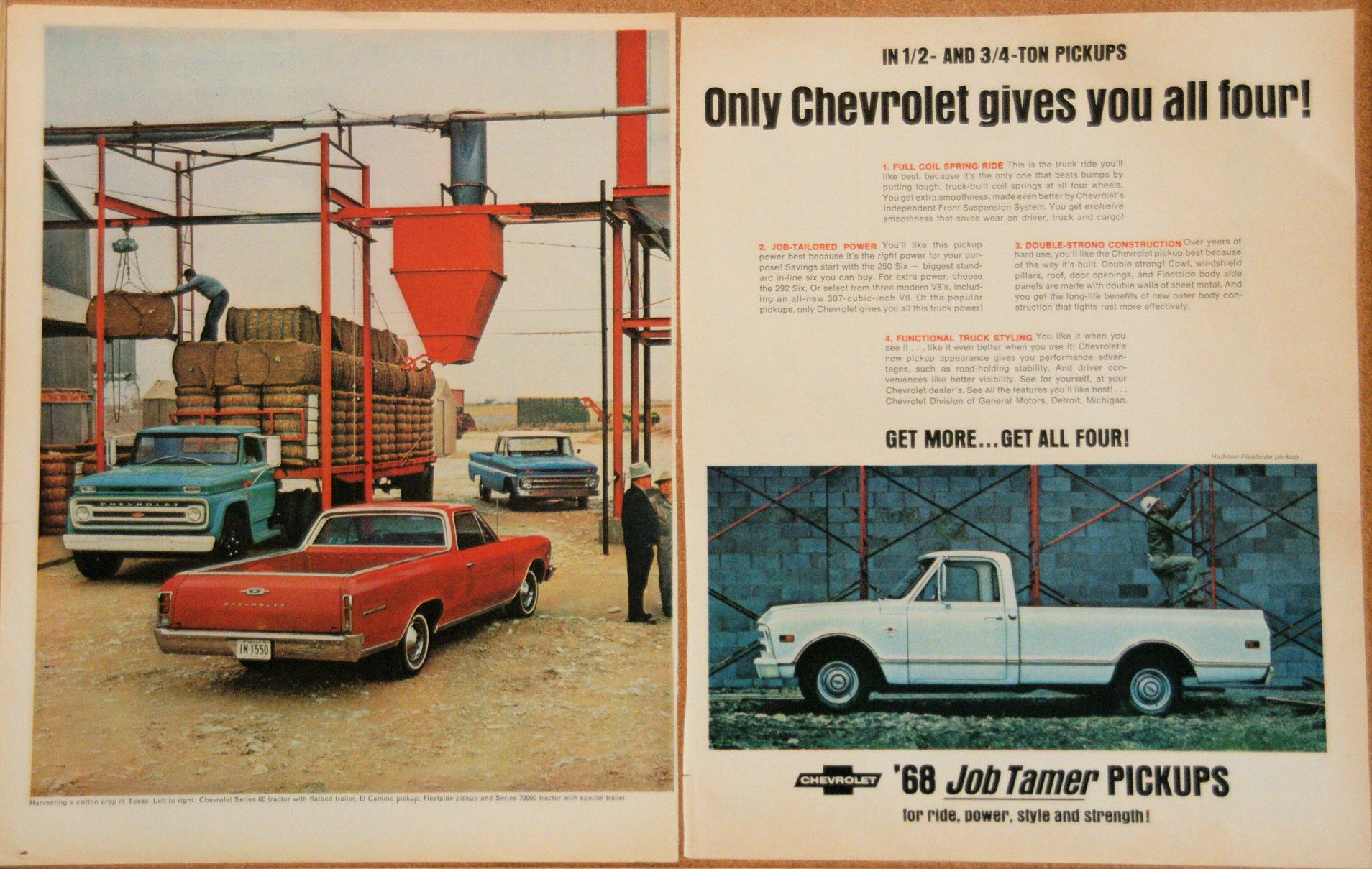 1968 Chevy Pick Ups Vintage Magazine Ads Car Advertising Chevy Car Ads
