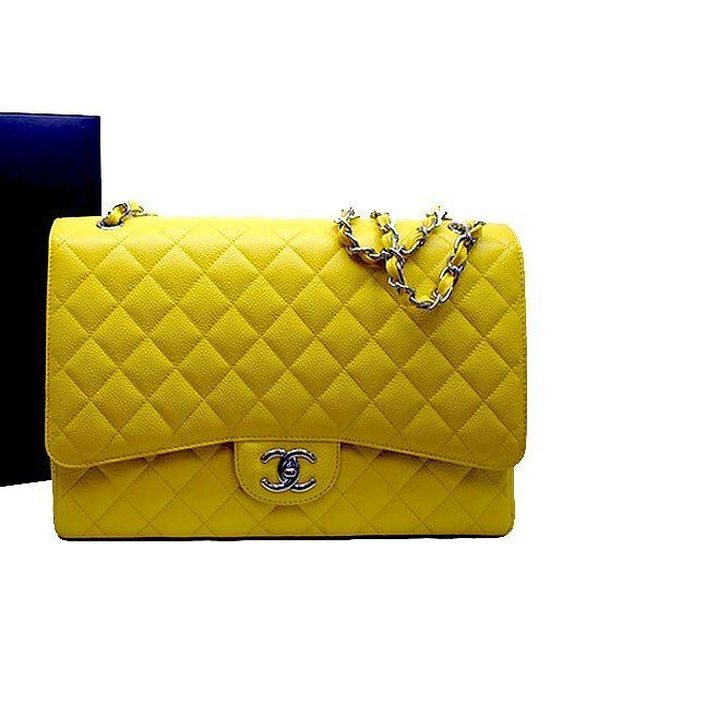 2c8d672d8b1e Chanel jumbo caviar flap bag rare yellow color excellent condition with  dust bag box and cards measures 12x8x3.5 inches asking $4700 comment for  more ...