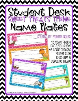 Student Desk Name Plate Sweet Treats Theme Student Desks Desks And Students