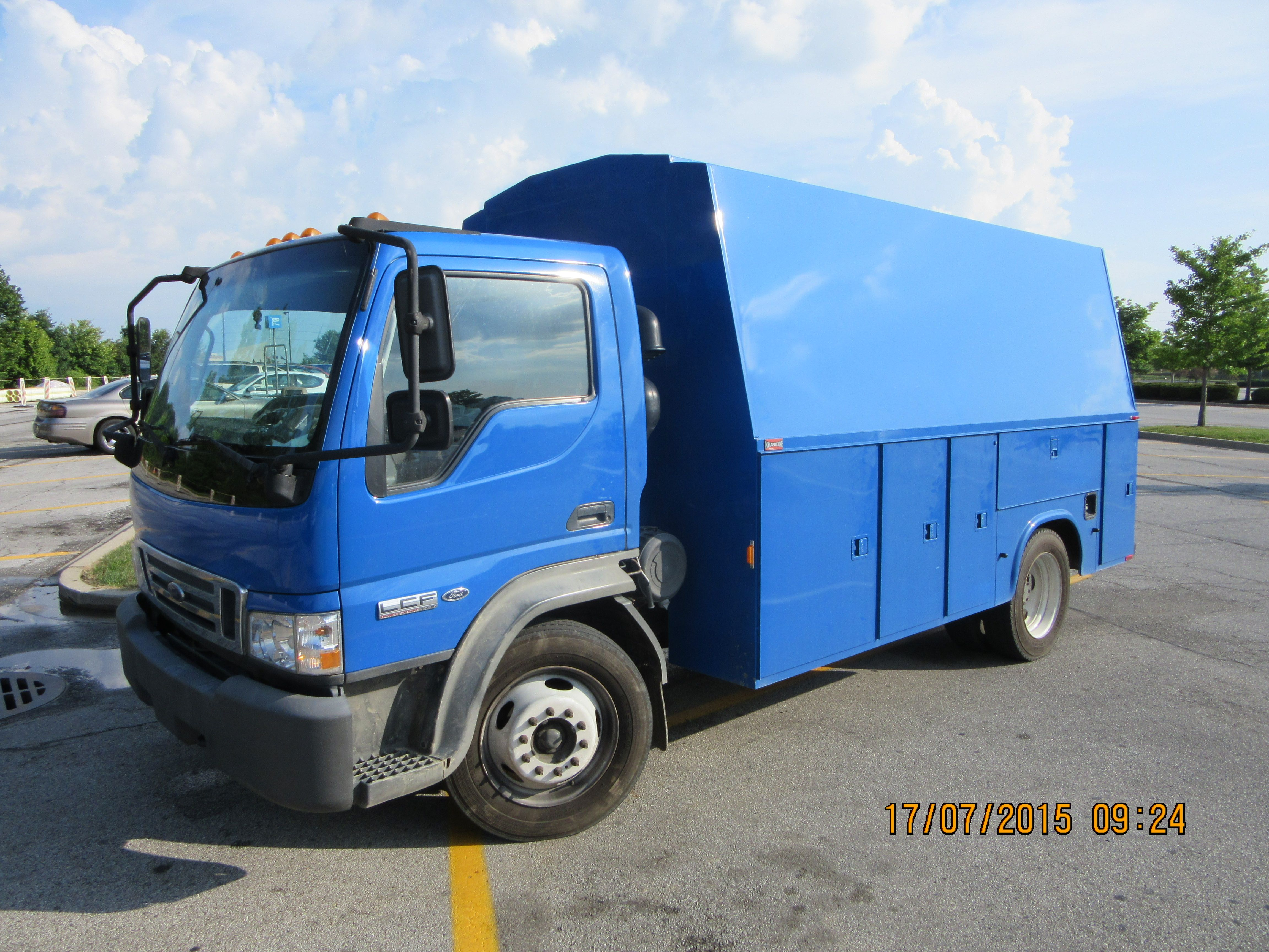 Blue ford lcf truck