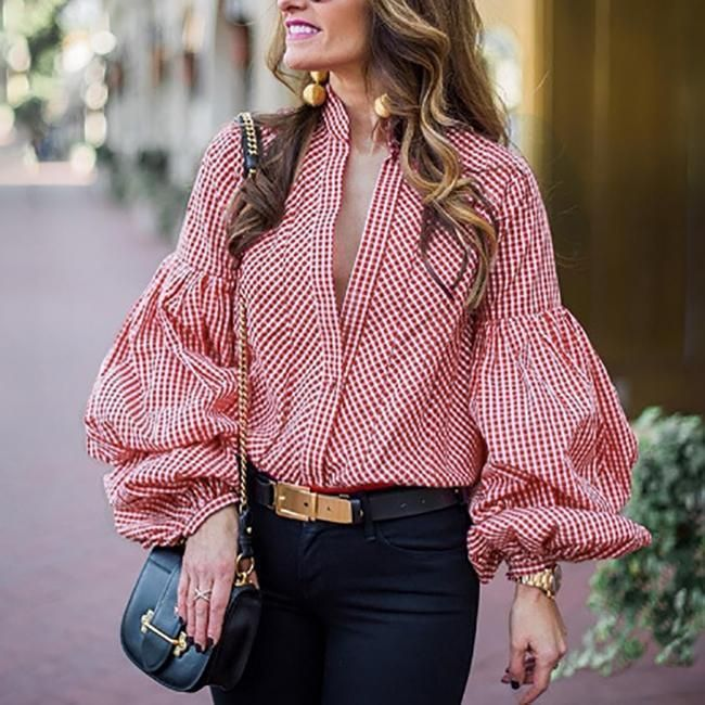 Fashion VNeck Puff Sleeve Plaid Shirt in 2020 Stand