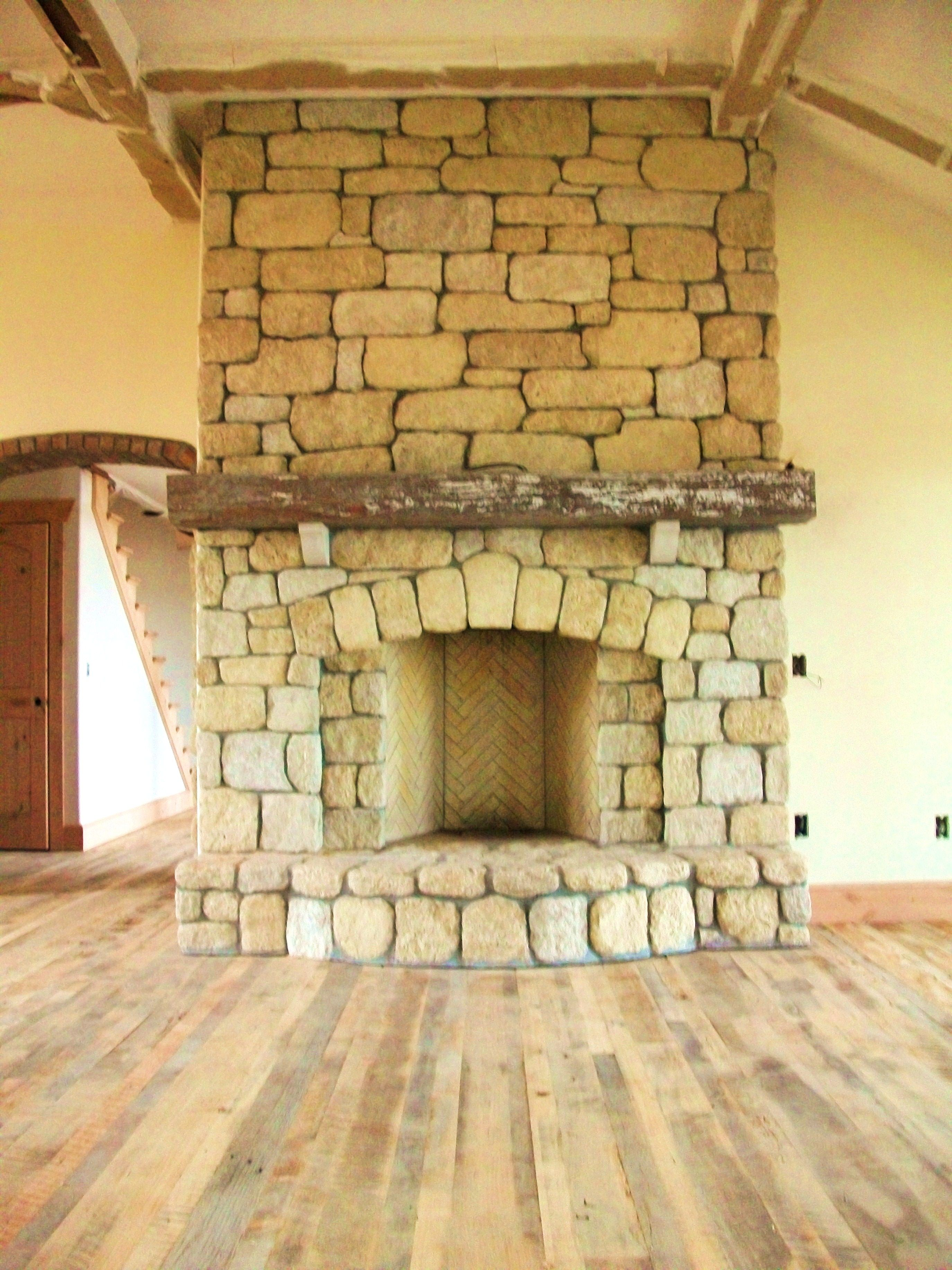 good rumford fireplace #10: rustic rumford fireplace surrounded with stone wall in wooden floor for  home decoration ideas