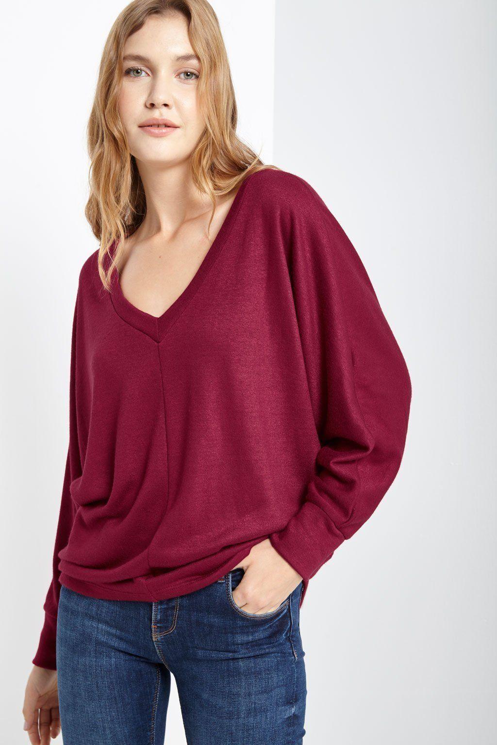 62995273fd1 Marge Dolman Sleeve Sweater Top - T28956INN-NT00044-BUR-L