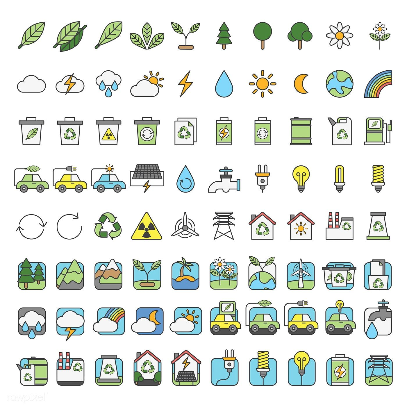 Illustration set of environmental vector free image by