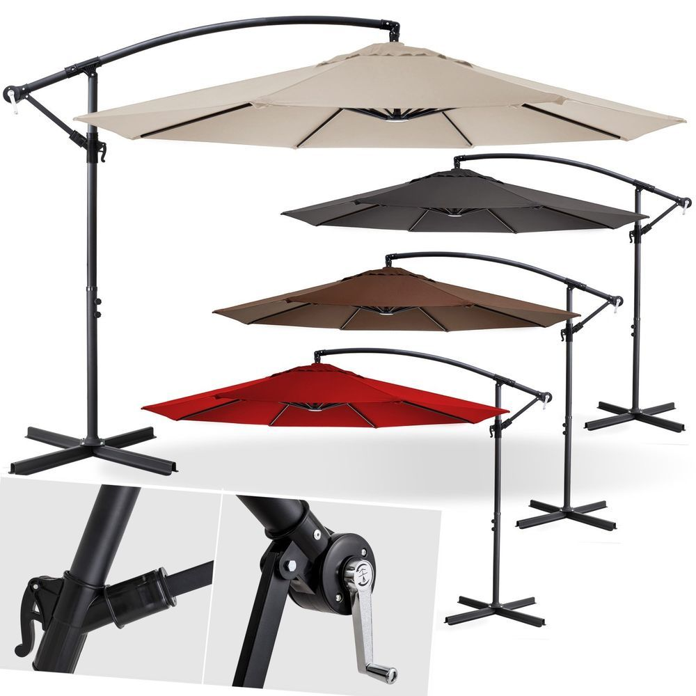 Kesser Alu Sonnenschirm O300cm Ampelschirm Handkurbel Schirm