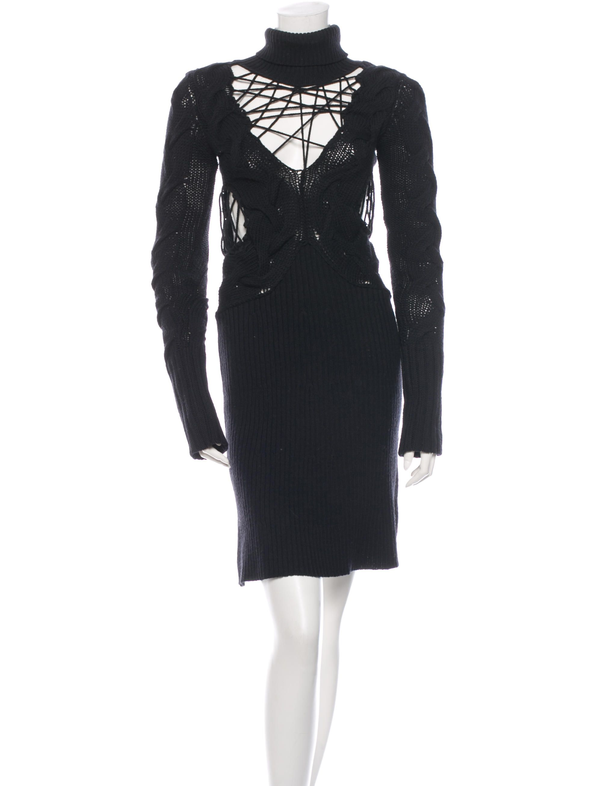 Black mcq by alexander mcqueen wool cable knit turtleneck dress with